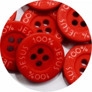 Botão 100% Jesus - Vermelho