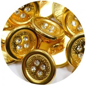 Botão Shine Strass 16100 - Ouro