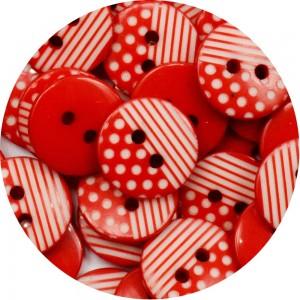 Botão Poá com Listras - Vermelho